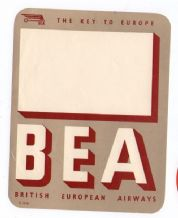 Collectible Airline luggage label BEA UK B.E.A. scarce #080